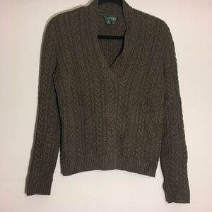 Ralph Lauren Olive Chunky Cable Knit Sweater